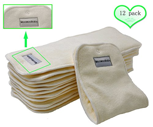 Bamboo Cloth Diaper Inserts-BumGenius Reusable Liners With a Fix Snap 4 Layers 12 Pieces ()
