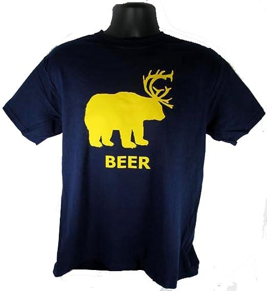 68c49fb7b Beer Deer Bear Sunny Mac Funny TV Pong Always Adult Navy T-Shirt Shirt Tee