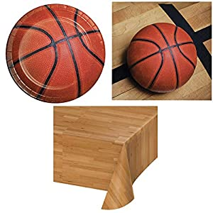 Olive Occasions Basketball Birthday Disposable Paper Party Supplies Serves 16 Plates, Napkins, Table Cover