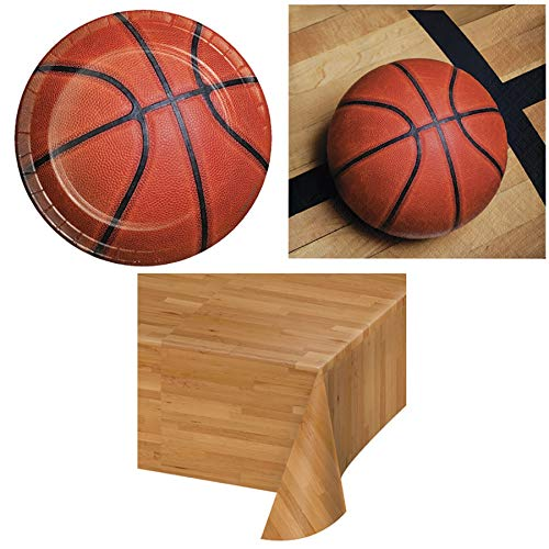 Basketball Birthday Disposable Paper Party Supplies Serves 16: Plates + Napkins + Table Cover ()