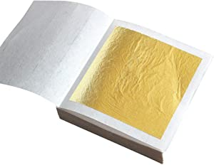 Edible 24K Gold Foil Leaf Sheets, 30 Sheets Real Gold Leaf Leafing Sheets Foil Paper for Cake Chocolates Decorating Bakery Pastry Cooking Beauty Routine Makeup Health Spa Art Craft Work