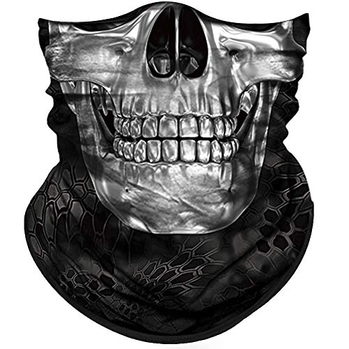 Obacle Half Face Mask Sun Dust Wind Protection Durable Tube Face Mask Bandana Skull Skeleton Face Mask for Men Women Bike Riding Motorcycle Fishing Hunting Cycling (Skull Silver White Face Neat Teeth)]()