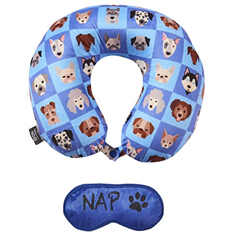Bon Voyage Printed Memory Foam Travel Pillow with Eye Mask U-Shape Neck Pillow Dogs for Adults and Kids - Dog Travel Pillow