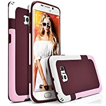 Galaxy S6 Edge Case, MagicMobile® Hard Hybrid Rugged Slim Case For Samsung Galaxy S6 Edge Anti-Slip Smooth Pattern Bumper Rubber [Brown/White/Pink] Protective Armor Case Cover Skin For Galaxy S6 Edge