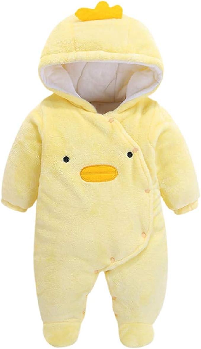 Newborn Baby Boys Girls Hooded Cartoon Flannel Romper Jumpsuit Warm Playsuit Set