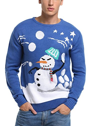 Snowball Santa (*daisysboutique* Men's Christmas Holiday Snowman Themed Ugly Sweater Cute Pullover (Snowball Fight, Small))