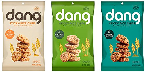 (Dang Sticky Rice Chips - 3 Flavor Variety Pack - 3.5 oz Each - Original, Coconut Crunch, Savory)