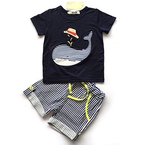 Evelin LEE Baby Boy Short Sleeve T-shirts and Stripe Shorts 2pcs Set Clothes (24-36 months, Dolphin) ()