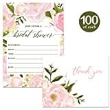 Bride-to-Be Shower Invitations & Matching Thank You Notes ( 100 of Each ) Beautiful Set with Envelopes Bridal Wedding Party Maid of Honor Fill-in Guest Invites & Folded Thank You Cards Best Value Pair