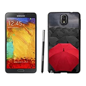 New Beautiful Custom Designed Cover Case For Samsung Galaxy Note 3 N900A N900V N900P N900T With Umbrellas Rain Gray Red Phone Case
