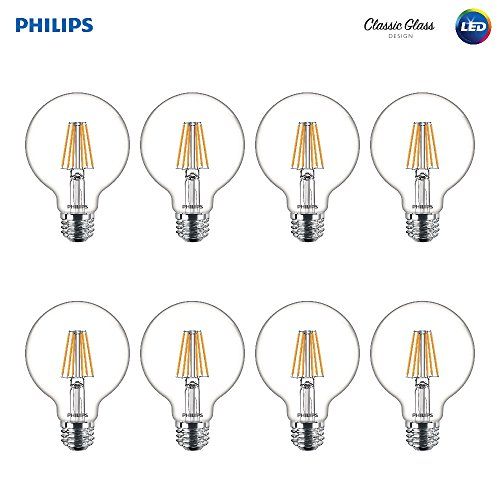 (Philips LED Indoor/Outdoor G25 Clear Glass Dimmable Filament Light Bulb with Warm Glow Effect: 350-Lumen, 2700-2200 Kelvin, 5-Watt (40-Watt Equivalent), E26 Medium Base, Soft White , 8-Pack)