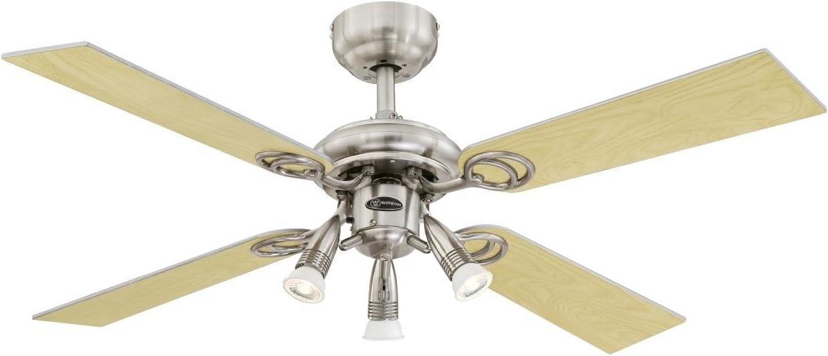 Westinghouse Lighting Pearl Ventilador de Techo GU10, Plateado: Amazon.es: Iluminación