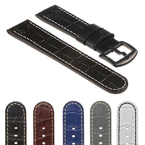 DASSARI Quick Release Croc Embossed Mens Leather Pilot Watch Band Strap w/Matte Black Buckle & Rivets 18mm 20mm 22mm 24mm