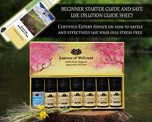 USDA Organic Essential Oils Set - Certified 100% Pure Aromatherapy 10ml Starter Kit - With BONUS Stress Relief Blend, Recipe eBook, Safe Dilution Chart Card, and Getting Started Guide - incensecentral.us