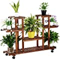Topeakmart 4-Tier Coner Wood Flower/Plant Stand Shelving Rack Display Shelf Outdoor Yard Garden Patio Balcony Multifunctional Storage Rack Bookshelf Brown