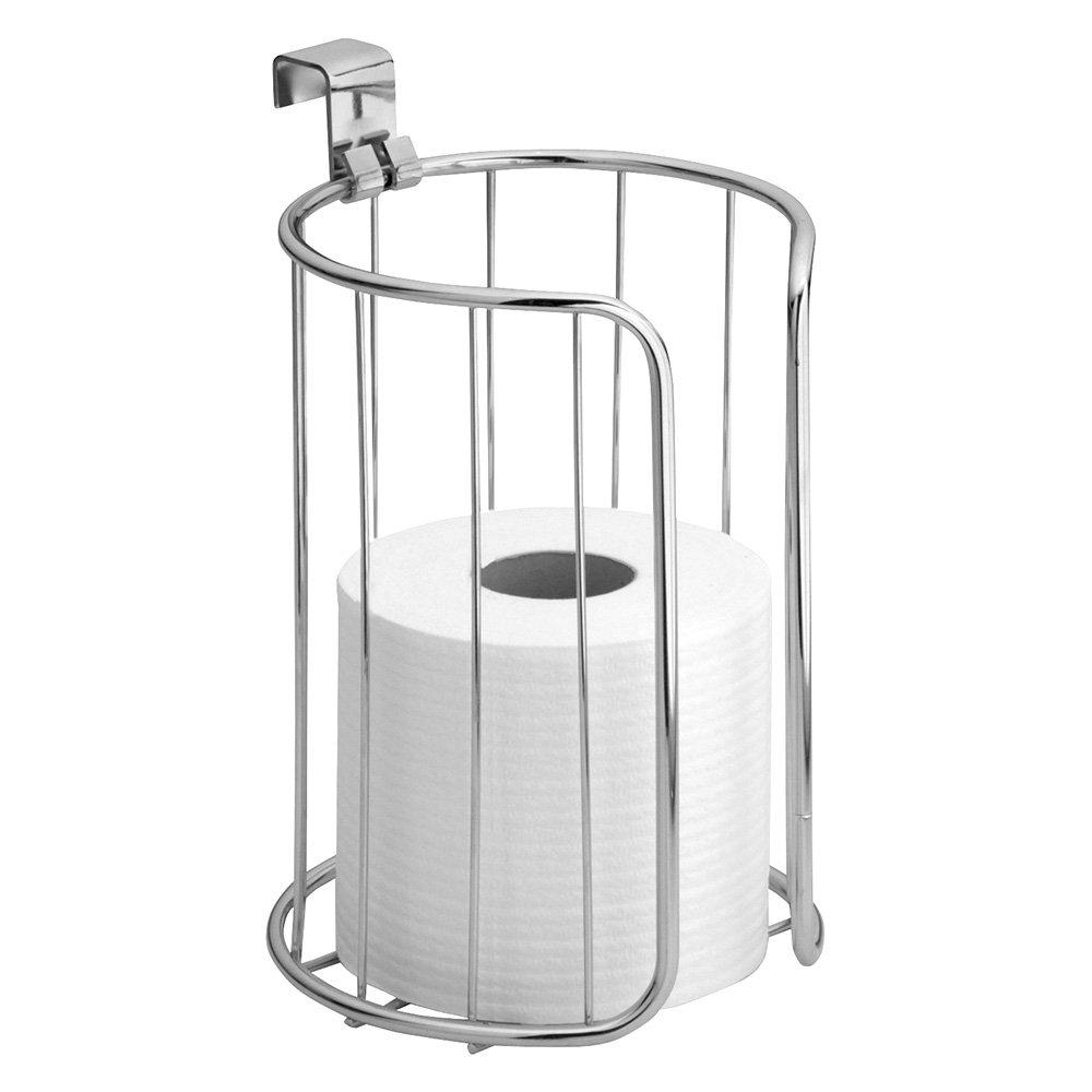 InterDesign Classico Over Tank Toilet Paper Holder – Vertical Basket for Extra Bathroom Toilet Roll Storage, Chrome