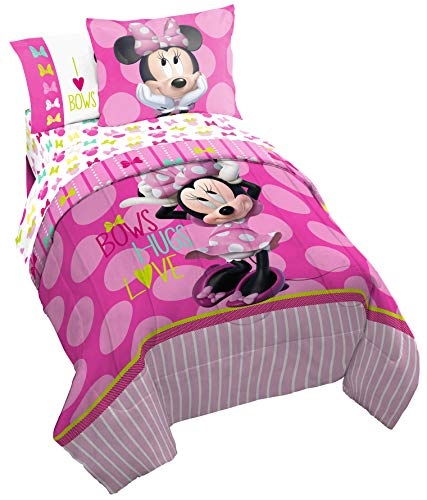 Disney Minnie Mouse Bigger Bow Twin Comforter - Super Soft Kids Reversible Bedding features Minnie Mouse - Fade Resistant Polyester Includes 1 Bonus Sham (Official Disney Product) ()