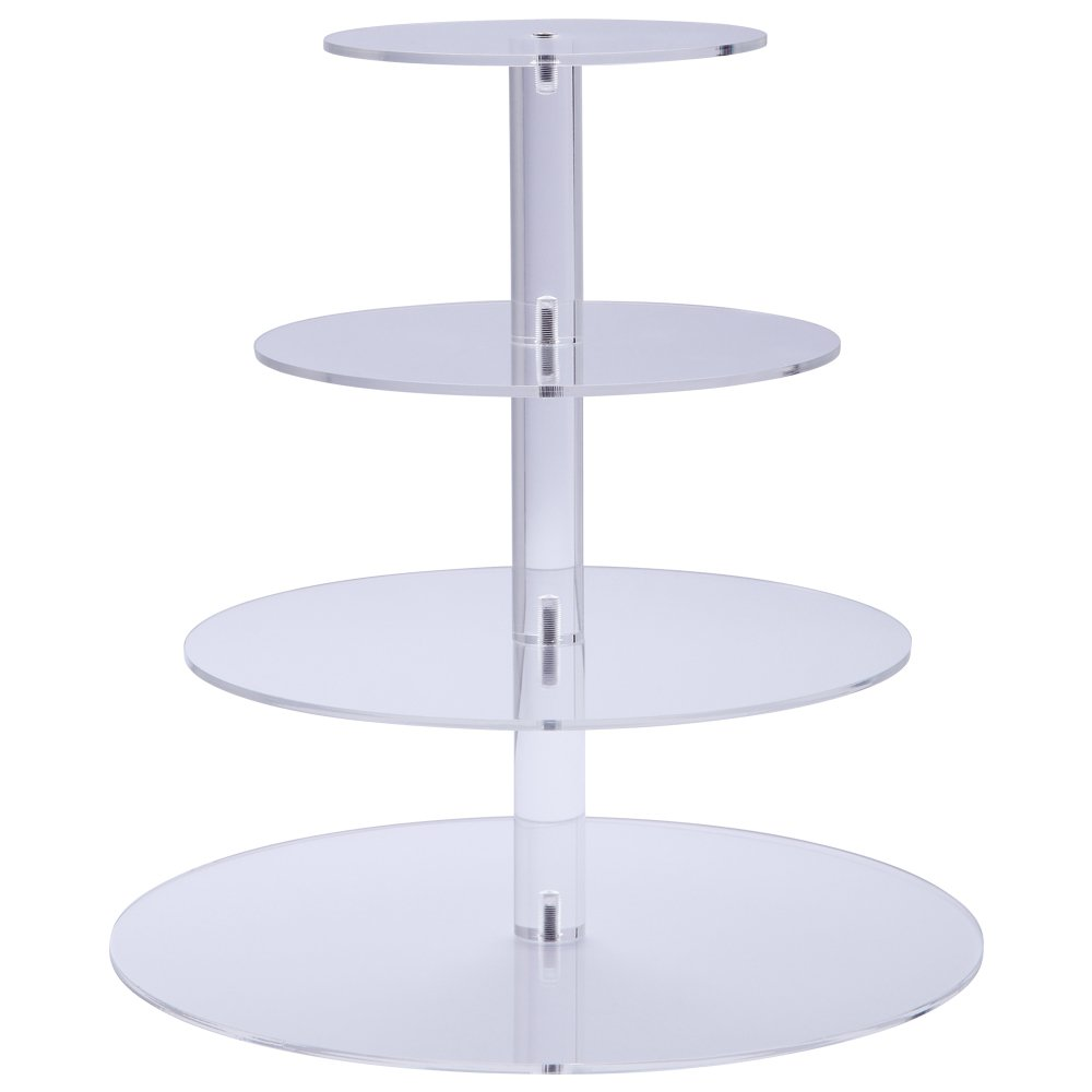Premium Four 4-Tier Crystal Clear Acrylic Glass Round Wedding Cake Stand Cupcake Tree for Wedding Cupcakes Dessert Stand Cupcake Stand for Party Cupcakes and other Desserts