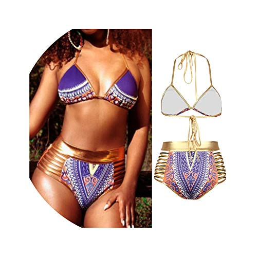 New African Print Two-Pieces Bath Suits Bikini Set Sexy Geometric Gold High Waist Swimming Suit,Purple,L