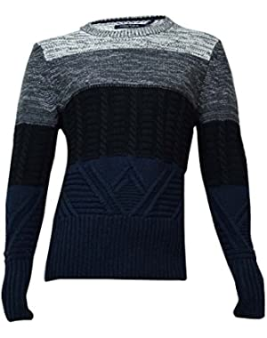 Mens Colorblocked Marled Pullover Sweater