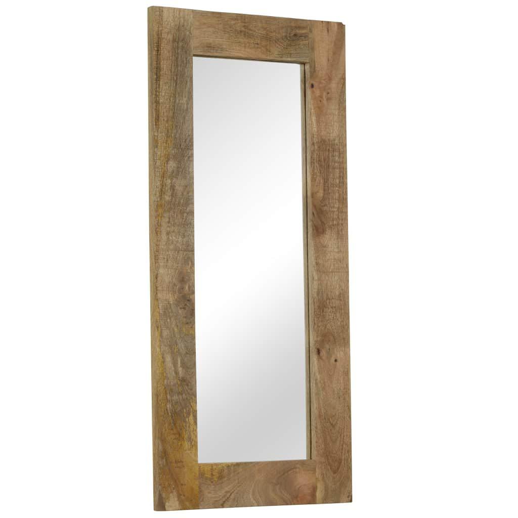 Festnight- Spiegel mit Rahmen | Wohnzimmer Wandspiegel | Badspiegel | Schlafzimmer Spiegel | Spiegel Flur | Massives Mangoholz 50 x 50/80/110 cm