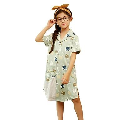 6f6fbdcef5eb2 WXIK キッズパジャマ ワンピース 女の子 110cm 春夏 半袖 前開き 可愛い 薄手 快適 柔らかい ネグリジェ