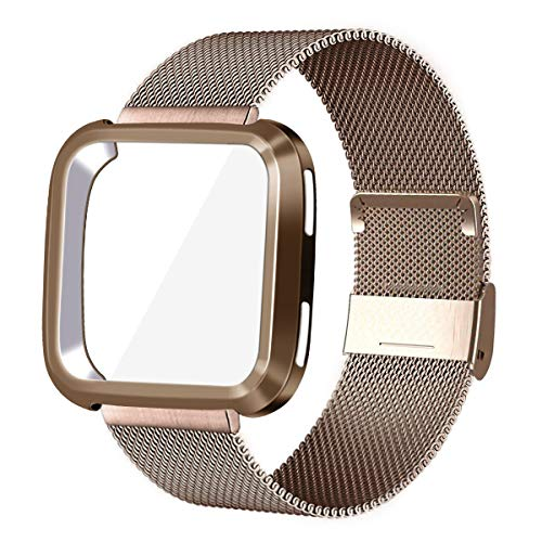 KADES for Fitbit Versa Bands, Stainless Steel Wristband with Protective Case for Fitbit Versa for Women Men (Gold Band+ Gold Case)