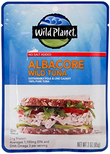 Wild Planet Albacore Tuna, No Salt Added, Pouch, Keto and Paleo, 3rd Party Mercury Tested, 3 Ounce