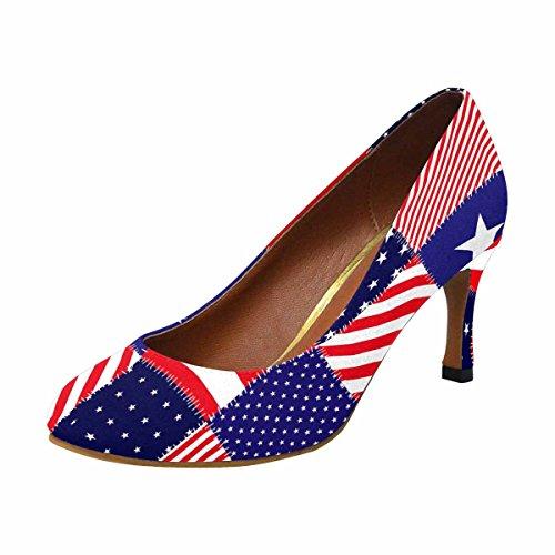 Rappezzatura Della Pompa Americana Del Vestito Dal Tacco Alto Della Moda Di Interestprint Womens Della Bandiera Americana