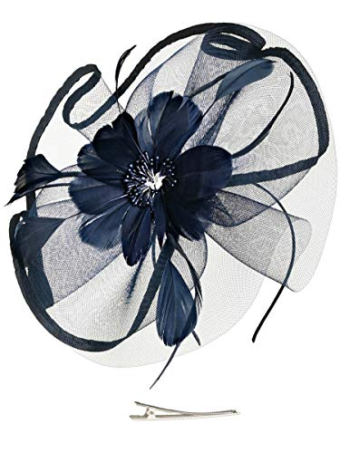 6394a0268d7bf Fascinators Hat for Women Tea Party Headband Fancy Dress Accessories  Wedding Cocktail Flower Mesh Feathers Hair