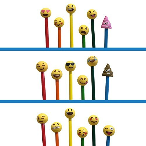 Everything Emoji Pencil Top Erasers | 18 Cool Emoticons | Cute School Accessory| Fun Gift | Colorful Cap Set | Amazon