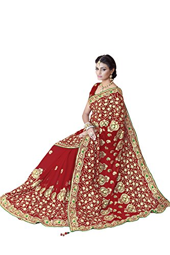 Women FauxGeorgette Bridal Wedding Saree Mirchi Fashion Indian Sari(5243_Red)