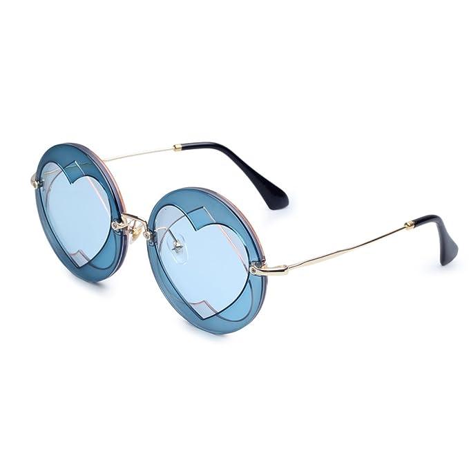 Forma de corazón Gafas de sol para las mujeres lente redonda ...