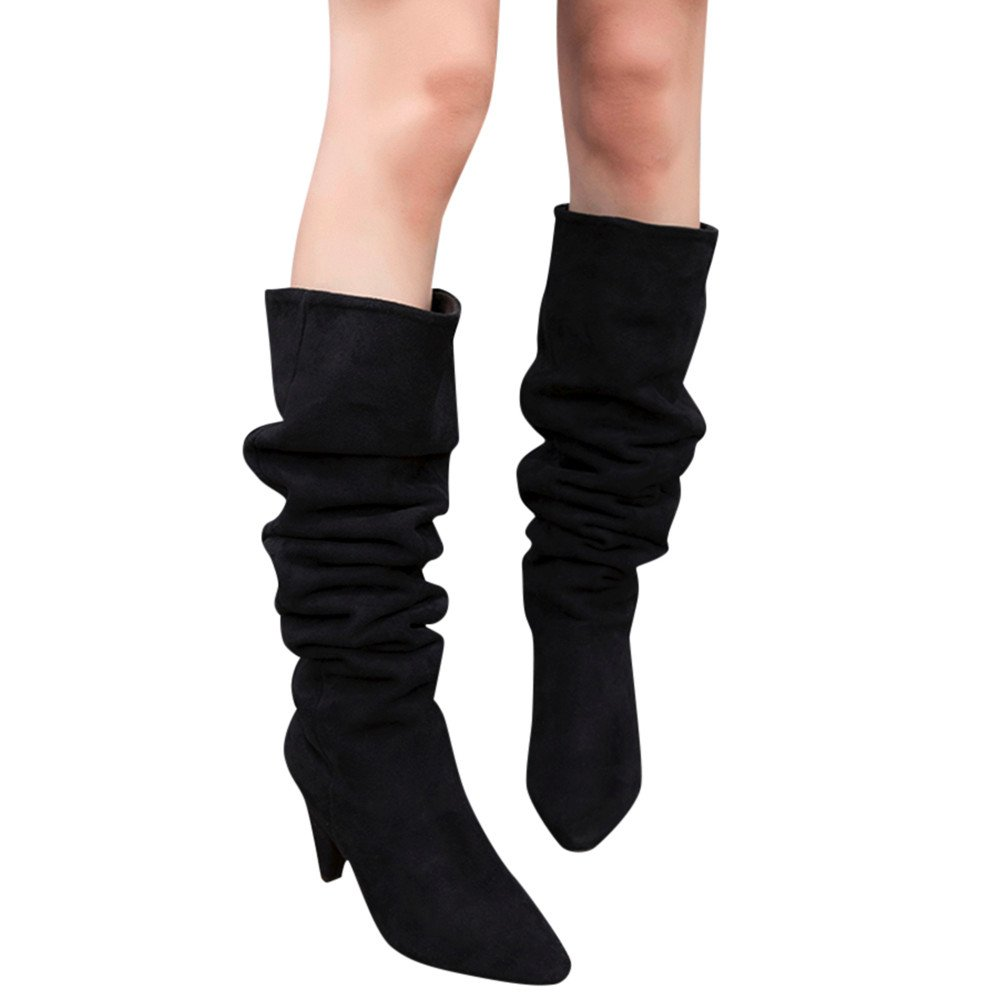 Shoes For Womens Clearance Sale ,Farjing Women Over The Knee Boot Solid Sexy High Heel Boots Women Flock Party Shoes(US:5.5,Black )