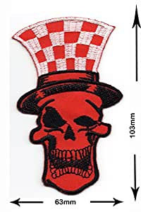 Patch - Skull with top hat red - Biker - Rocker - Chopper - Vest - Iron on Patch - Embroidered - Applique - Sign - Badge - Costume - Gift - Patch555