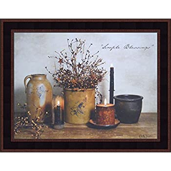 Home Cabin Décor Simple Blessings by Billy Jacobs 15x19 Crocks Candles Stoneware Country Primitive Folk Art Photography Framed Print Picture