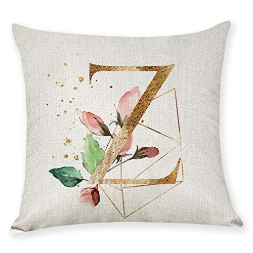 AOJIAN Home Decor Cushion Cover, Alphabet Flower Decorative Throw Pillow Covers Protectors Bolster Case Pillowslip
