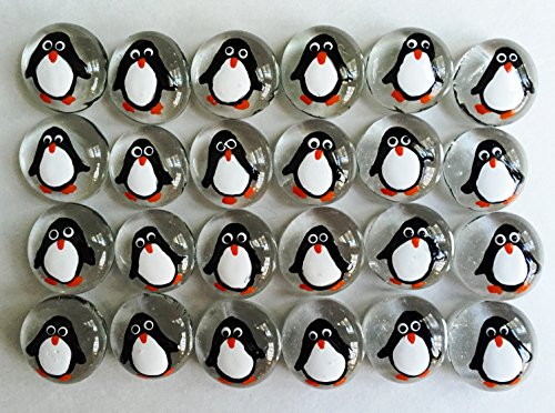 Penguins - Hand Painted Set of 24 Glass Gems; Party Favor, Decoration, Mosaic Tile, Crafts etc.! Penguin Party Shower