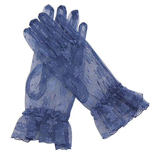 (Debbie's Bridal Short Glove for Prom Party Lace Bridal Glove Navy)