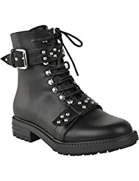 Fashion Thirsty Womens Chunky Studded Biker Ankle Boots Winter Punk Goth Shoes Size