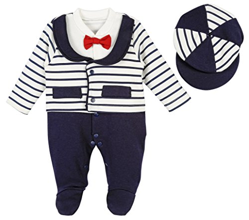 Lilax Baby Boy Newborn Stripe Footie with Hat 2 Piece Set 6-9 (Stripe Rosette)