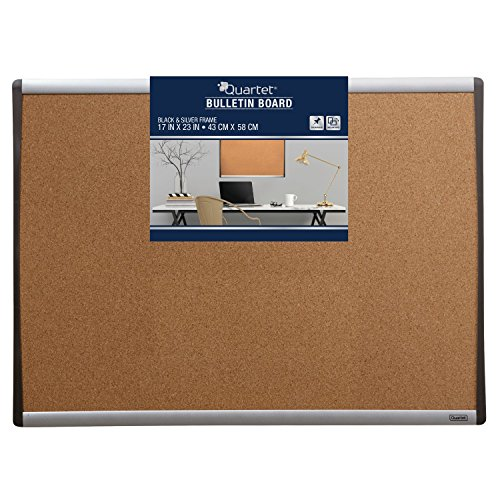 Quartet Cork Bulletin Board, 17 x 23 Inches, Black/Silver Frame ()