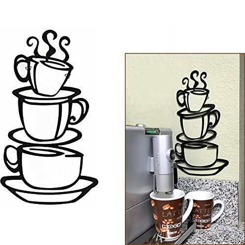 Adorox Coffee House Cafe Cup Java Silhouette Metal Wall Art (Black (1 Pack))