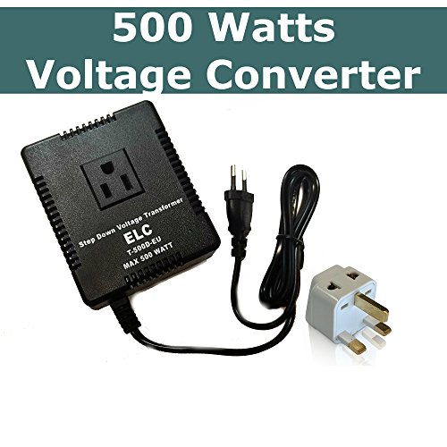 - 500 Watts Voltage Converter International Travel Step Down for Europe and Asia - 220-240 Volts to 110-120 volt - fuse protection - ideal for Laptops, cameras, phones, iPads Etc