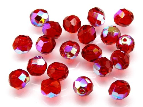 25pcs Czech Fire-Polished Faceted Glass Beads Round 8mm Siam Ruby AB