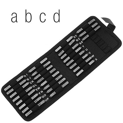27 Piece Lowercase Gothic Font Alphabet Metal Punch Set 1.5mm Characters