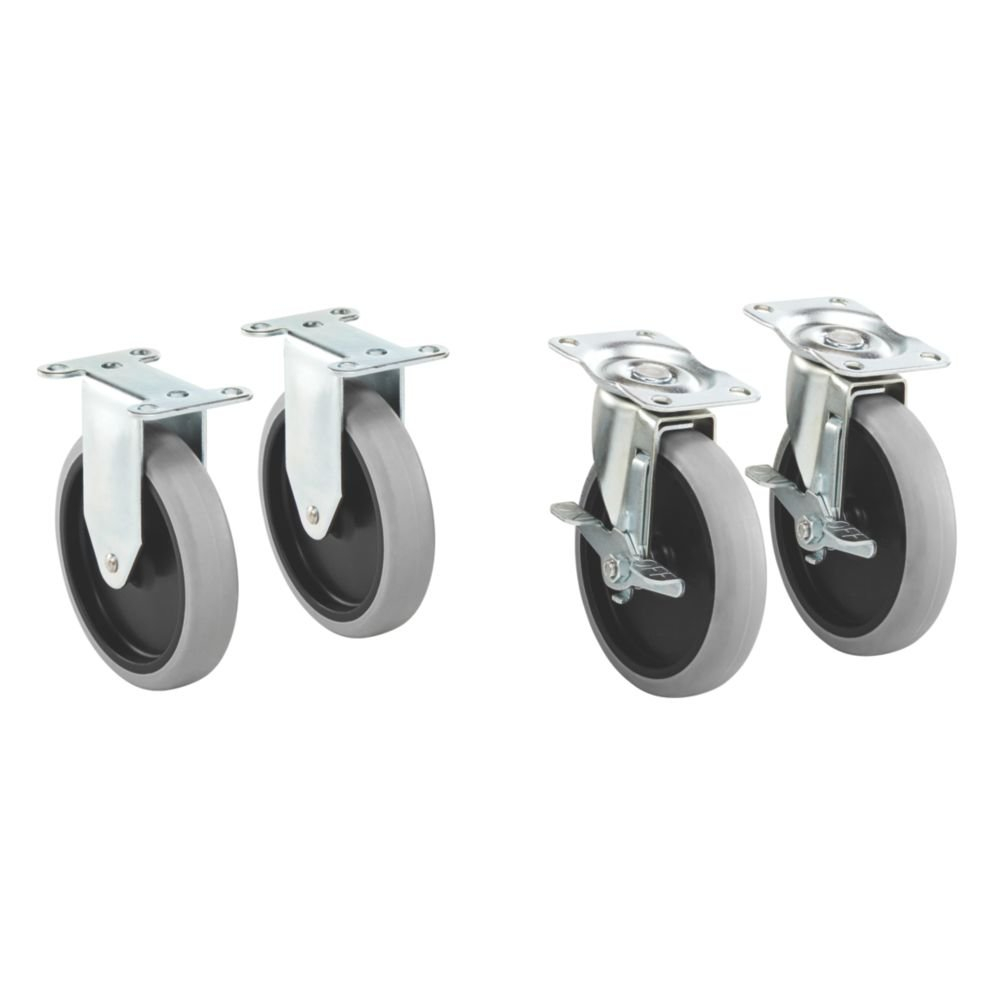 """Rubbermaid Commercial Products 1997371 Heavy Duty Adaptable Utility Cart Replacement Casters, 5"""", 5.69"""" Height, 5.82"""" Width (Pack of 4)"""
