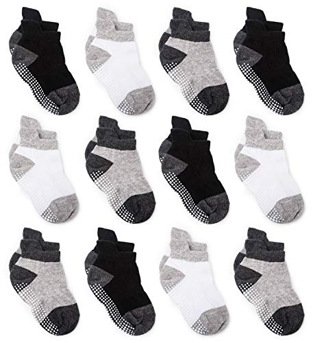 - Zaples Baby Non Slip Grip Ankle Socks with Non Skid Soles for Infants Toddlers & Little Kids