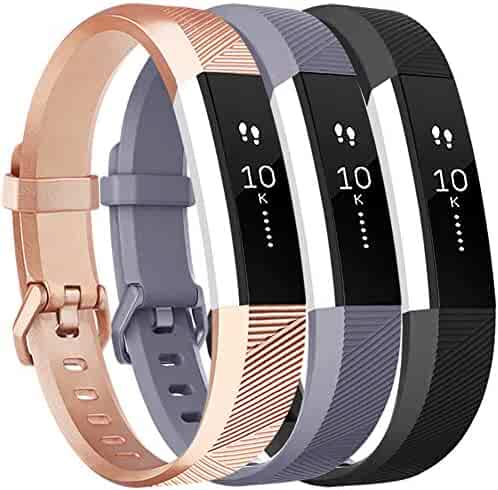 Vancle Bands Replacement for Fitbit Alta HR and Fitbit Alta (3 Pack), Newest Sport Replacement Wristbands with Secure Metal Buckle for Fitbit Alta HR/Fitbit Alta (Gray Rose-Gold Black, Small)