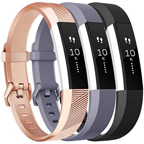 Vancle Bands Replacement for Fitbit Alta HR and Fitbit Alta (3 Pack), Newest Sport Replacement Wristbands with Secure Metal Buckle for Fitbit Alta HR/Fitbit Alta (Gray Rose-Gold Black, Large)